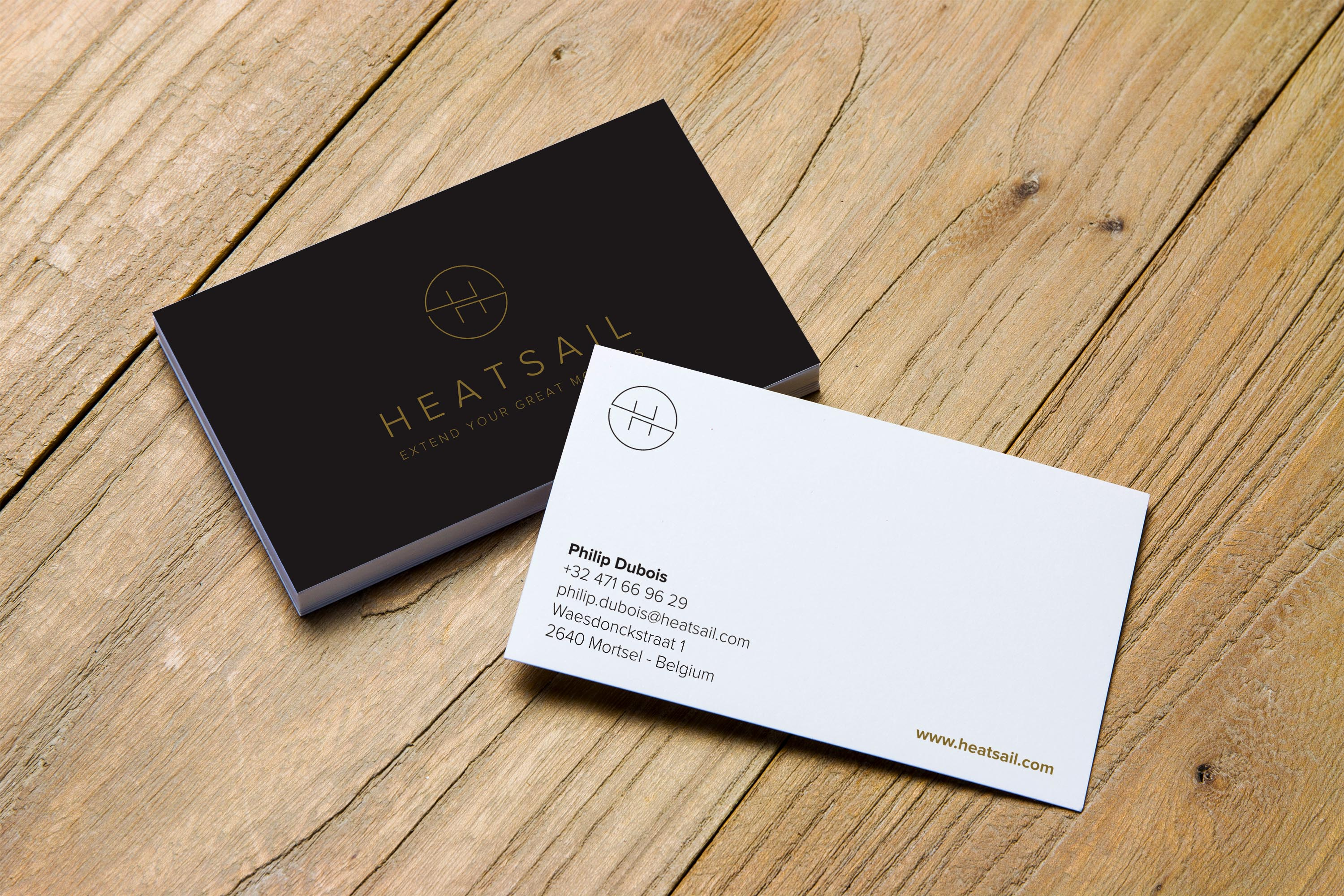 Heatsail business card with gold foil